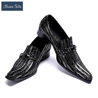 Christia Bella Italian Mens Shoes Genuine Leather Men Dress Shoes Slip on Luxury Business Wedding Formal Shoes Prom Oxford Shoes