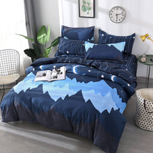 Moon Star 4pcs Kid Bed Cover Set Cartoon Duvet Cover Adult Child Bed Sheets And Pillowcases Comforter Bedding Set 2TJ-61003 4pcs geo print duvet cover set