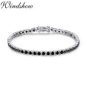 Image 1 - 3mm 925 Sterling Silver Cluster Round Black CZ Ziron Tennis Bracelets Pulseras Pulseira Bracelete Women Jewelry Girl Friend Gift