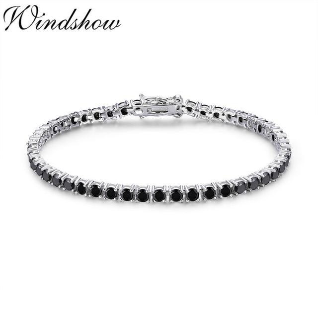 3mm 925 Sterling Silver Cluster Round Black CZ Ziron Tennis Bracelets Pulseras Pulseira Bracelete Women Jewelry Girl Friend Gift