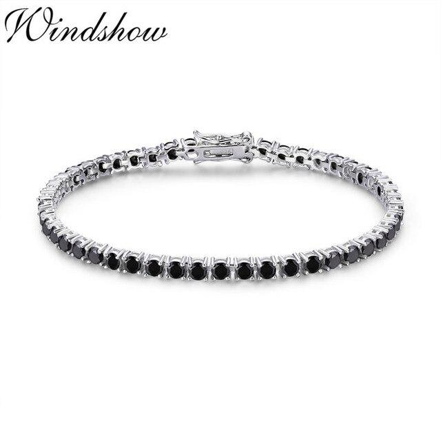 3mm 925 argent Sterling Cluster rond noir CZ Ziron Tennis Bracelets Pulseras Pulseira bracelet femmes bijoux fille ami cadeau