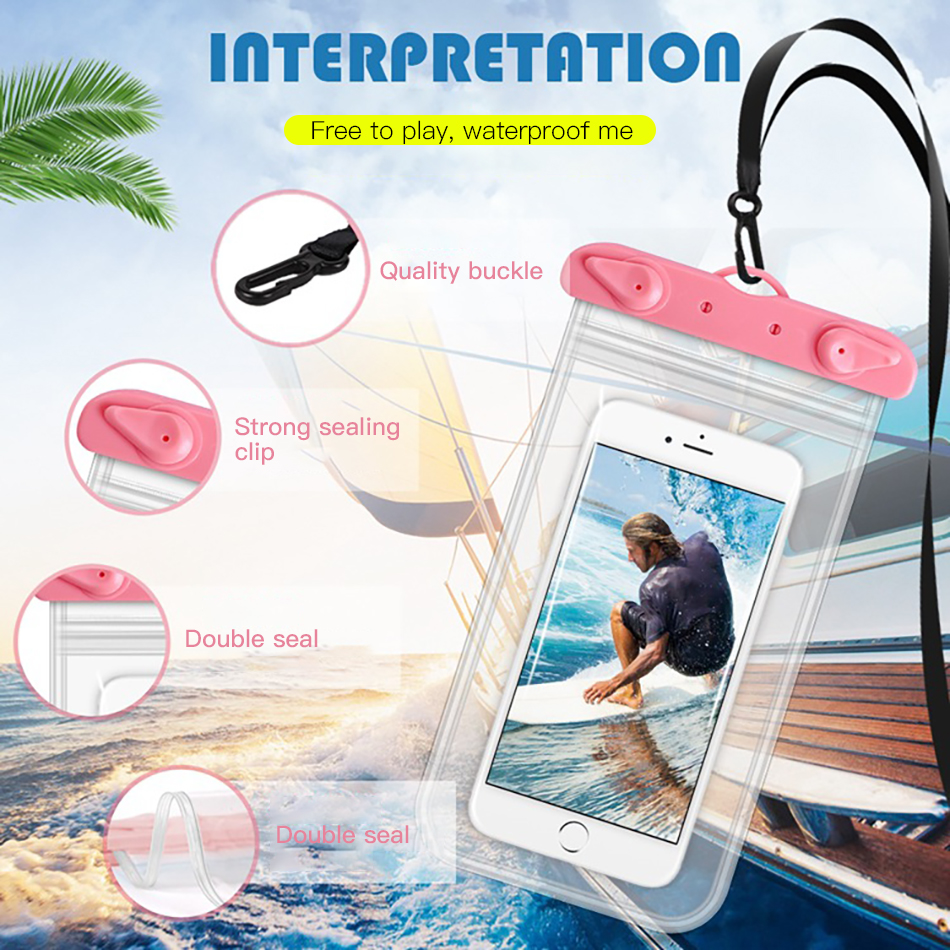 !ACCEZZ PVC Waterproof Bag 6 inches Pouch Phone Case For iPhone XS XR Xiaomi Huawei Samsung HTC Mobile Phone Swimming Cover Case (4)