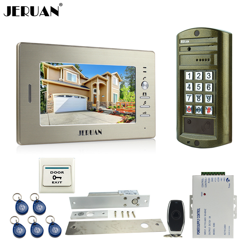 HOME 7 inch Video Doorbell Intercom System kit Metal Panel waterproof password keypad HD Mini Camera + ELectric Drop Bolt lock