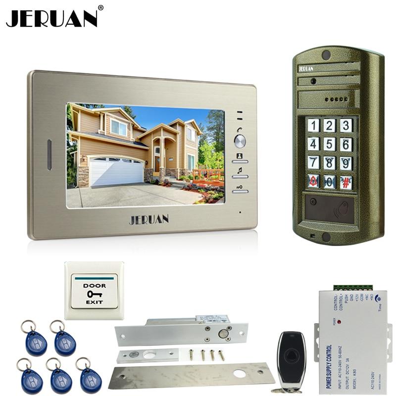 HOME 7 Inch Video Doorbell Intercom System Kit Metal Panel Waterproof Password Keypad HD Mini Camera + ELectric Drop Bolt Lock