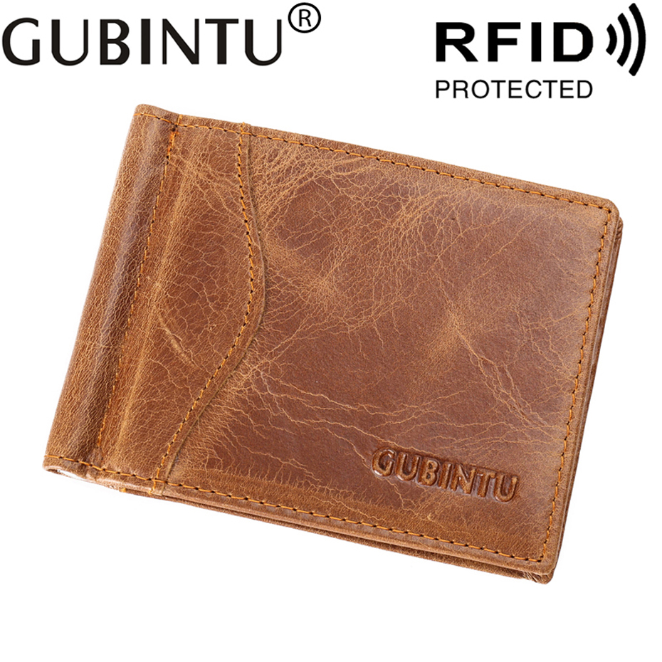 Thin RFID Slim Business Card Holder Men Wallet Male Purse Cuzdan Genuine Leather Clamp For Money Bag Short Vallet Small Walet