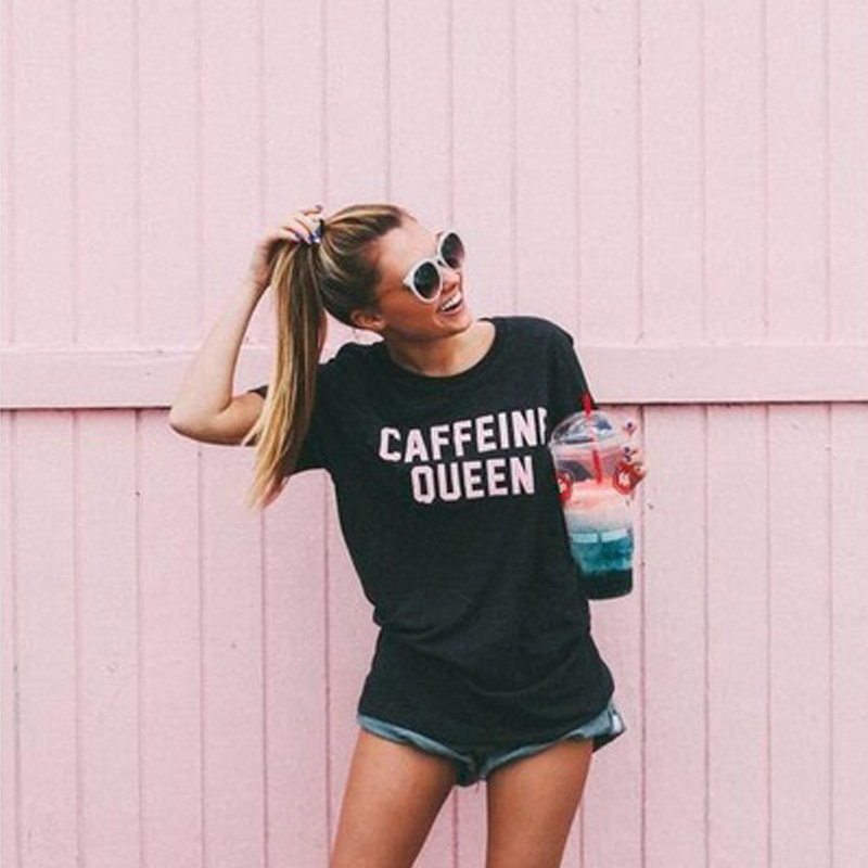 Caffeine Queen Letters Printed Women Funny T Shirt Fashion Graphic Tee Summer Casual short sleeve Black Top Tee