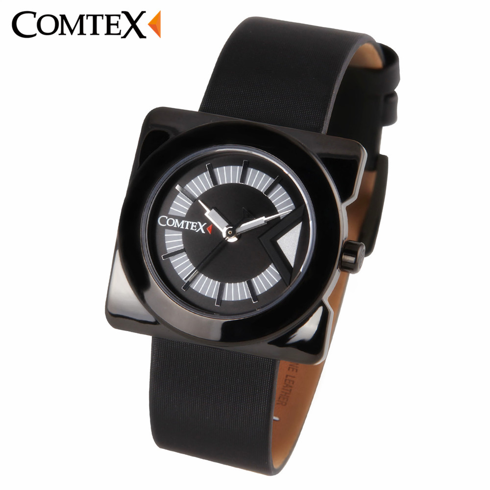 COMTEX Women Watches Fashion Causal Black PU-Leather Wristwatch Quartz Dress Waterproof Watch Montre Femme Clock For Gift 2017 hello kitty cartoon watches kid girls leather straps wristwatch children hellokitty quartz watch montre enfant