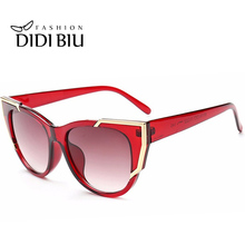 DIDI Polycarbonate Eye Cat Sunglasses American Women Sexy Red Clear Frame Sun Glasses Goggles Super Star Oculos Feminine W465