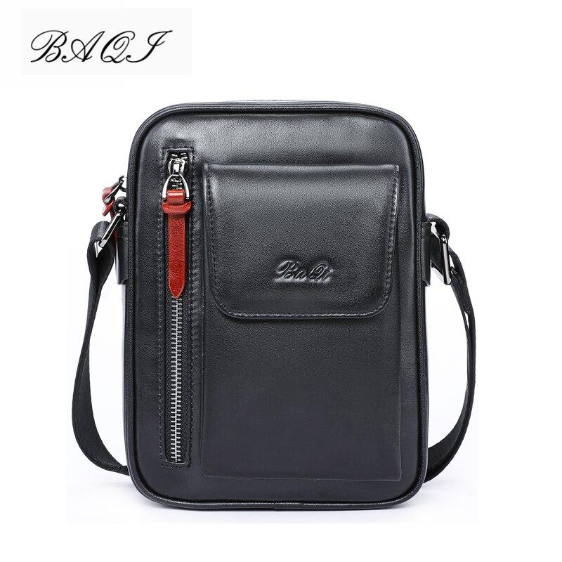 BAQI Brand Men Handbags Messenger Bag Genuine Leather Cowhide High Quality 2019 Fashion Men Shoulder Bags Crossbody Casual Bag