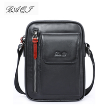 BAQI Brand Men Handbags Messenger Bag Genuine Leather Cowhide High Quality 2019 Fashion Men Shoulder Bags Crossbody Casual Bag