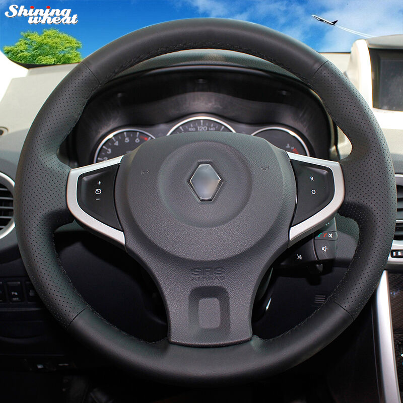 Shining wheat Hand-stitched Black Leather Car Steering Wheel Cover for Renault Koleos 2009-2014