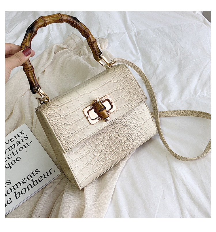 BEIGE New Alligator Pattern Small Women Square Handbag Bamboo Handle Tote Bag
