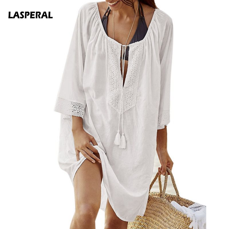 LASPERAL Women Beachwear Cover Up Sexy Kaftan Beach Tunic Shirt 2018 New Summer Fashion Solid Cotton Pareo Beach Blouses Shirts