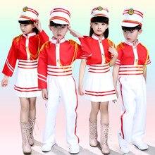 Dzieci Drum Team kostium dzieci szkoła występ na scenie jednolity bęben Majorette kostium dziecięcy Top + spódnica/spodnie + czapka 18