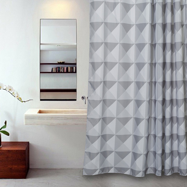 Memory Home Polyester Waterproof Bathroom Geometric Shower Curtain Customized Grey Triangles Bath