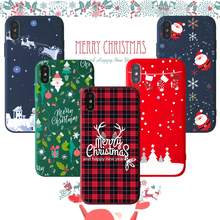Merry Christmas Phone Case For iPhone 6 6s 7 8 Plus X XR XS Max Cute Cartoon Santa Claus Elk Soft TPU Cover wholesale