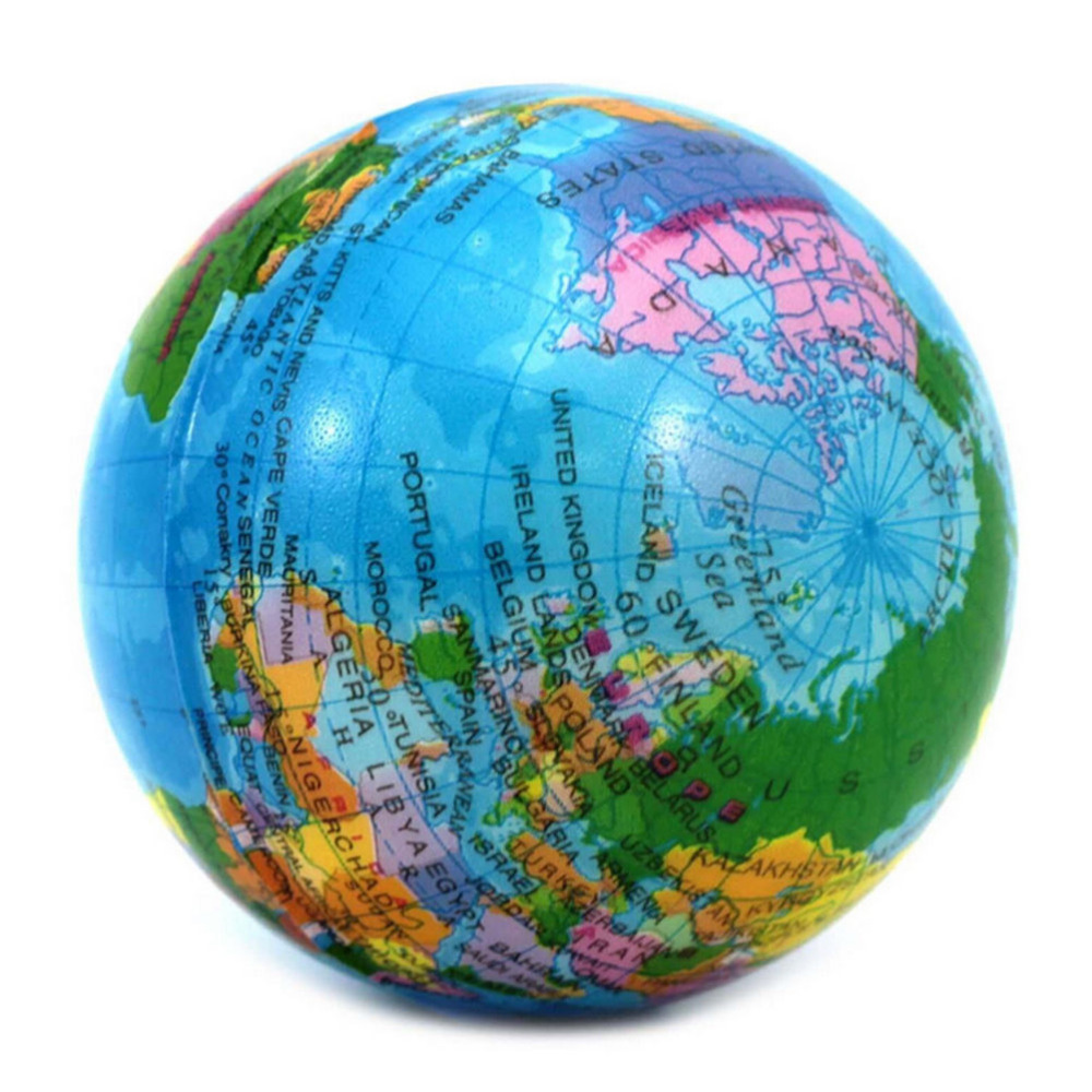 New Soft Foam Ball World Map Foam Earth Globe Hand Wrist Exercise Stress Relief Squeeze Braces Supports Foam Rubber Massage Ball