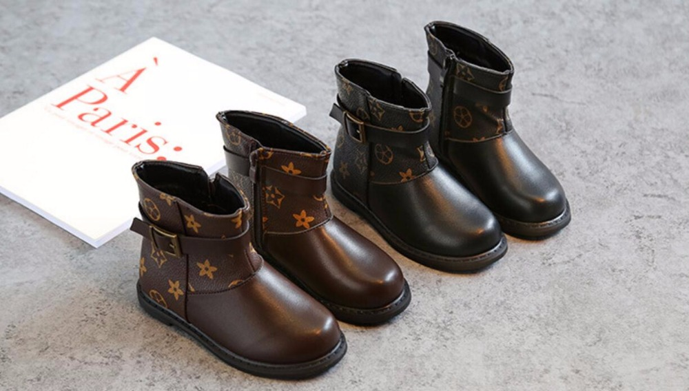 kids boots PU Leather girls winter Boots for todder baby zipper fashion mid-calf boot low -heeled autumn water proof snow shoes