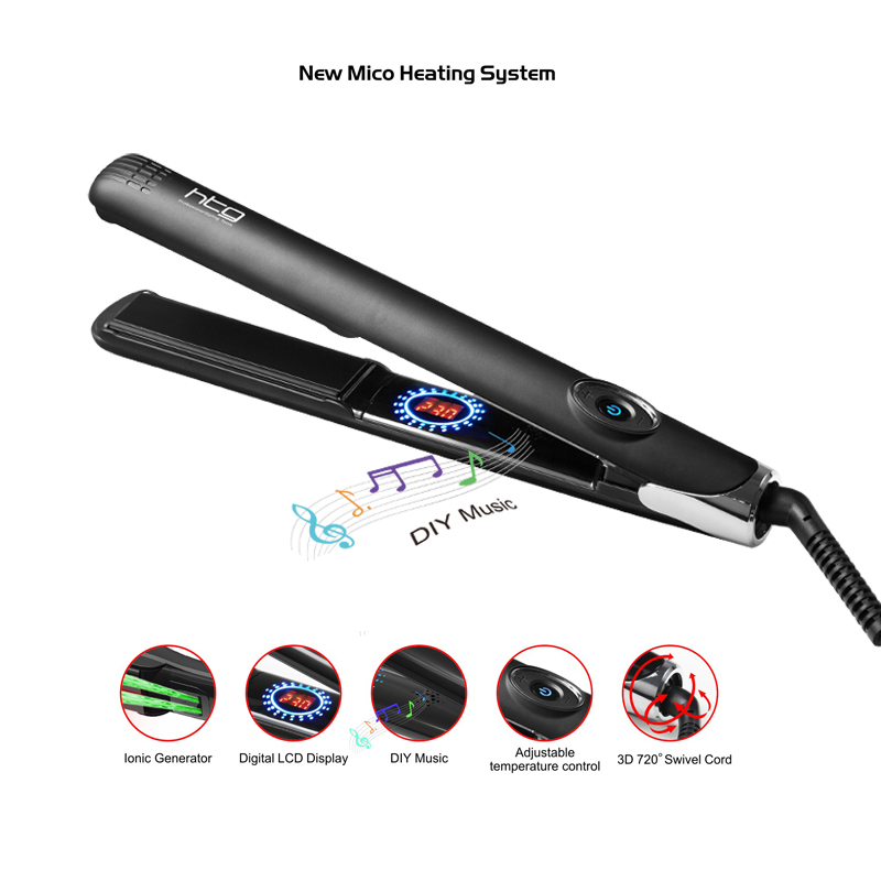 HTG 4 MCH Hot Hair straightener iron Flat Professional Fast Hair Straightening +Ionic lcd display DIY Music hair iron HT095 5184 infrared flat iron hair straightener mch fast heating dual voltage ceramic plates lcd display flat hair straightener irons