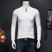 Autunno Inverno uomo Dolcevita T Shirt Morbido Velluto di Spessore Manica Lunga t-shirt Uomo Nero Bianco Slim Fit Plus Size 5XL maglietta homme