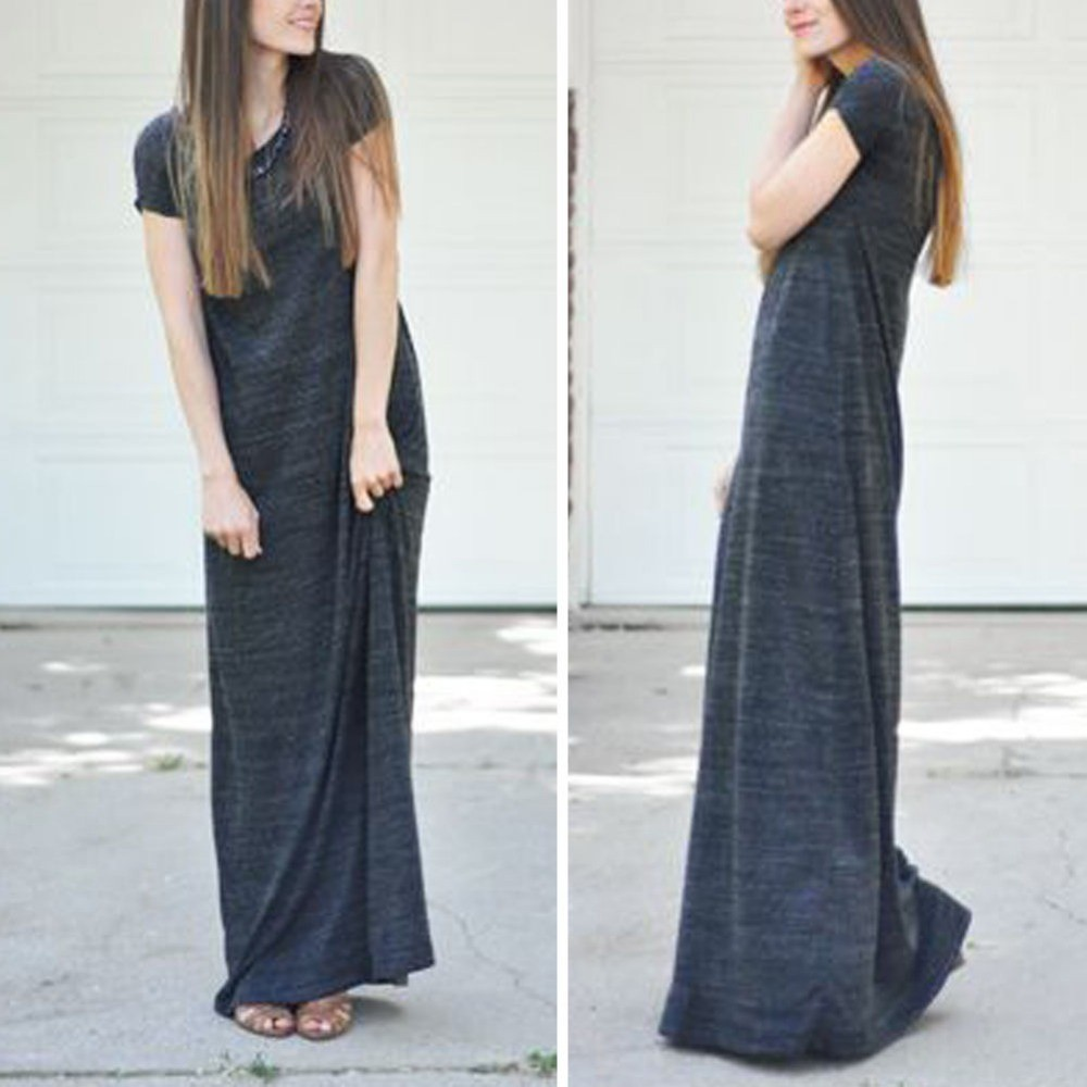 New-Fashion-Womens-Fashion-Short-Sleeves-T-Shirt-Loose-Casual-Long-Maxi-Dress-Plus-