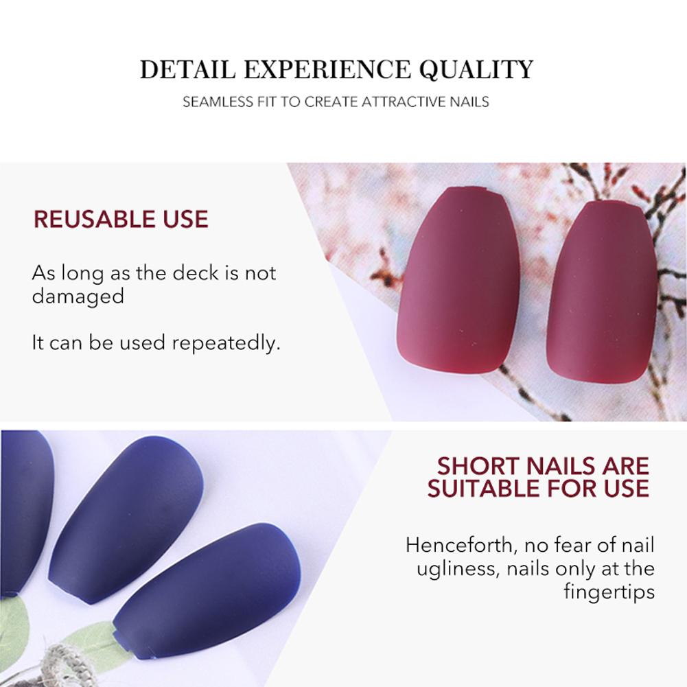 Nail Art Wine Red Fake Nail Full Cover Matte False Nails Short Head Soft Pure Color Frosted Artificial Tips in False Nails from Beauty Health