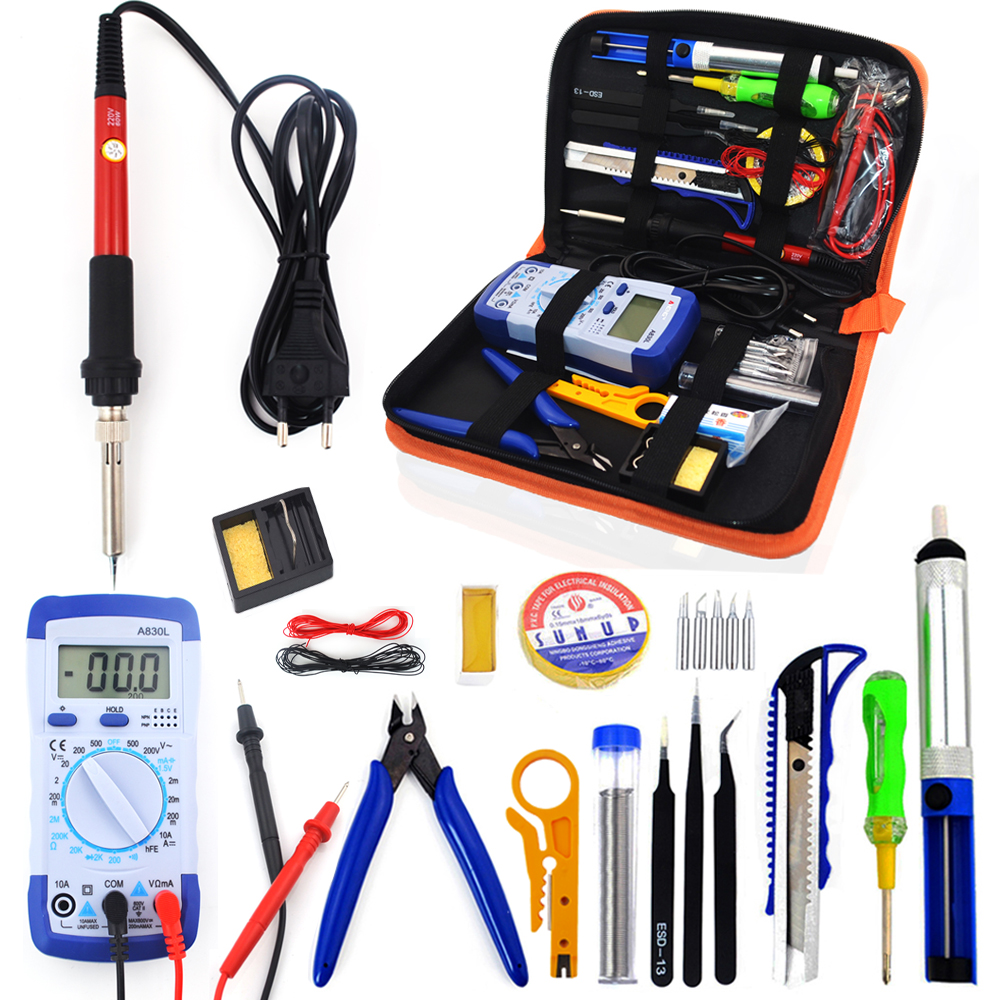 60W EU Plug 220V 110V Adjustable Temperature Soldering Iron Kit With Multimeter Desoldeirng Pump Welding Tool