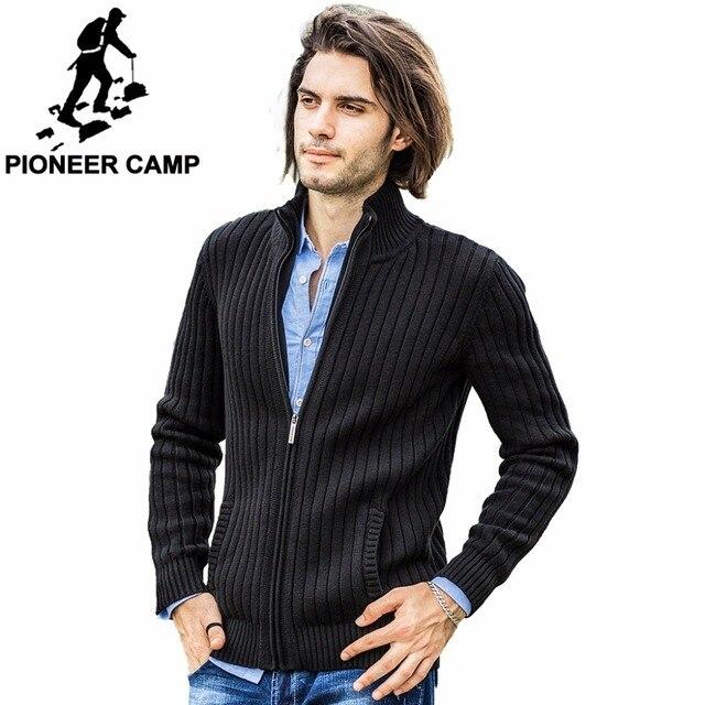 Пионерский лагерь кардиганы мужские свитера новинка 2017 г. трикотаж кардиган на молнии высокое качество марки одежды модные мужские Рождественский свитер