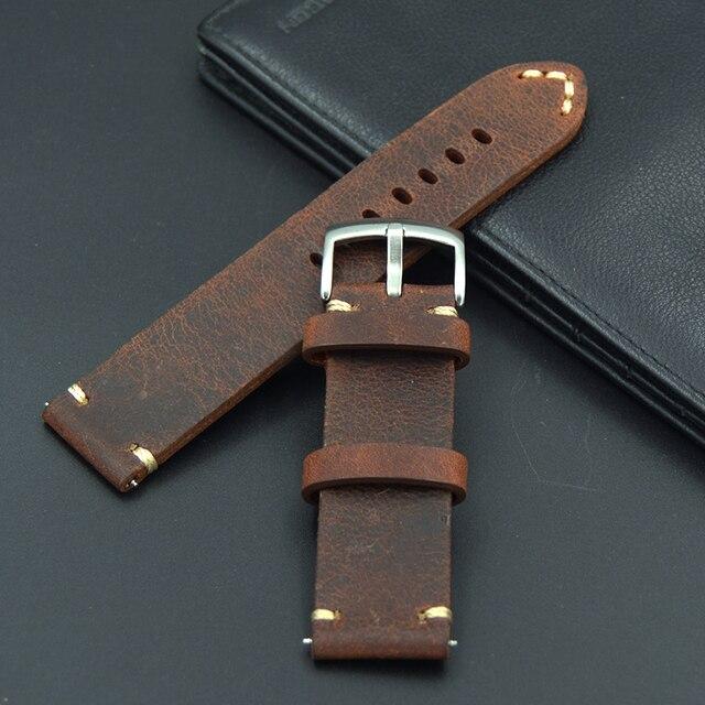 R etroหนังแท้18 19 20 21 22มิลลิเมตรผู้ชายนาฬิกาที่ยอดเยี่ยมสายรัดสำหรับS Eiko Midoสำหรับโอเมก้าฟอสซิลเข็มขัดสร้อยข้อมือwatch bands