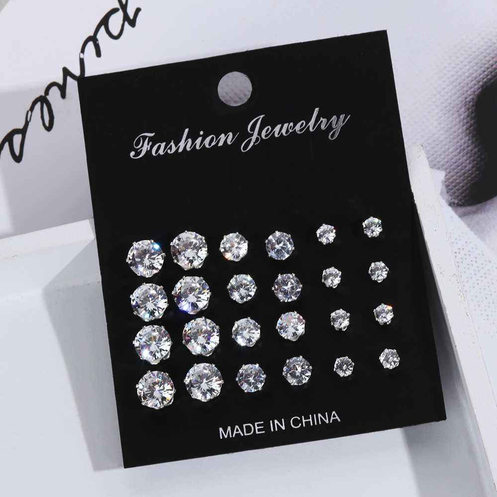 6/12 Pairs Stud Earrings For Women Exquisite Geometric Crystal Elegant Wedding Earrings Femme 2019 Fashion Jewelry Earrings Set