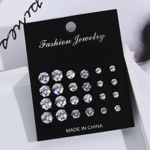 Fashion Earrings-Set Jewelry Crystal Geometric Elegant Exquisite Women Femme 6/12/20-pairs