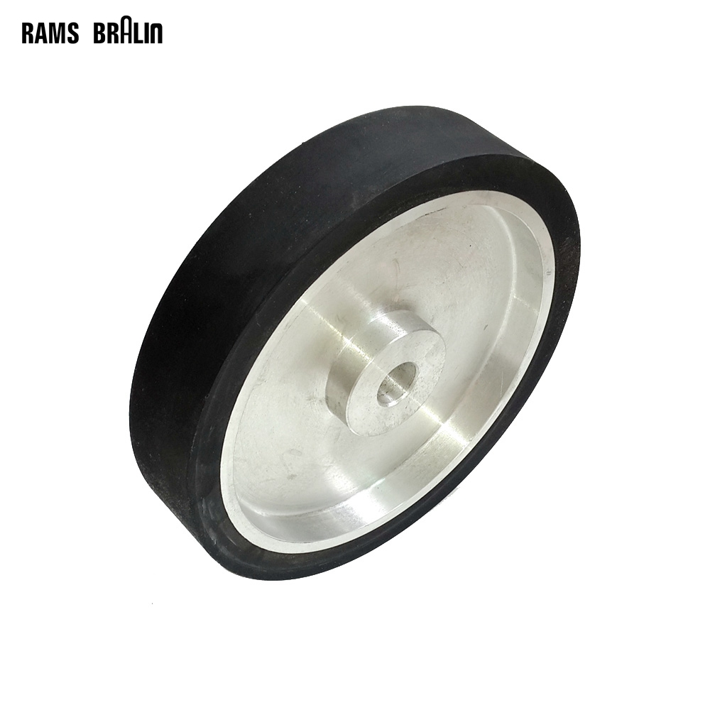 250*50mm Flat Belt Grinder Rubber Contact Wheel Abrasive Sanding Belt Set ID 35mm with Slots and Circlips for 6202 Bearings 300 50mm flat belt grinder contact wheel dynamically balanced rubber polishing wheel abrasive sanding belt set