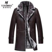 Men Genuine Leather Jacket Men's Sheepskin Coat Male Fur Winter Overcoat Men's Thick Leather Jacket Men Brand Italian Style Coat