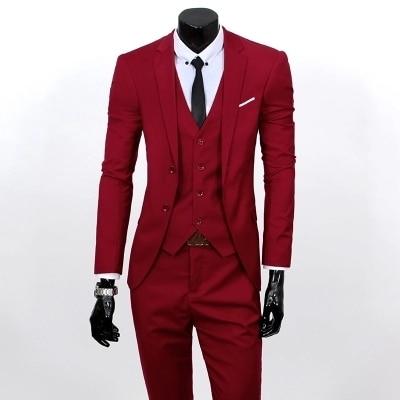 (Jacket+Vest+Pants)Men Slim Fit Suits Plus Size S- 3XL Mens Black Wedding Suits With Pants Business Mens Formal Wear