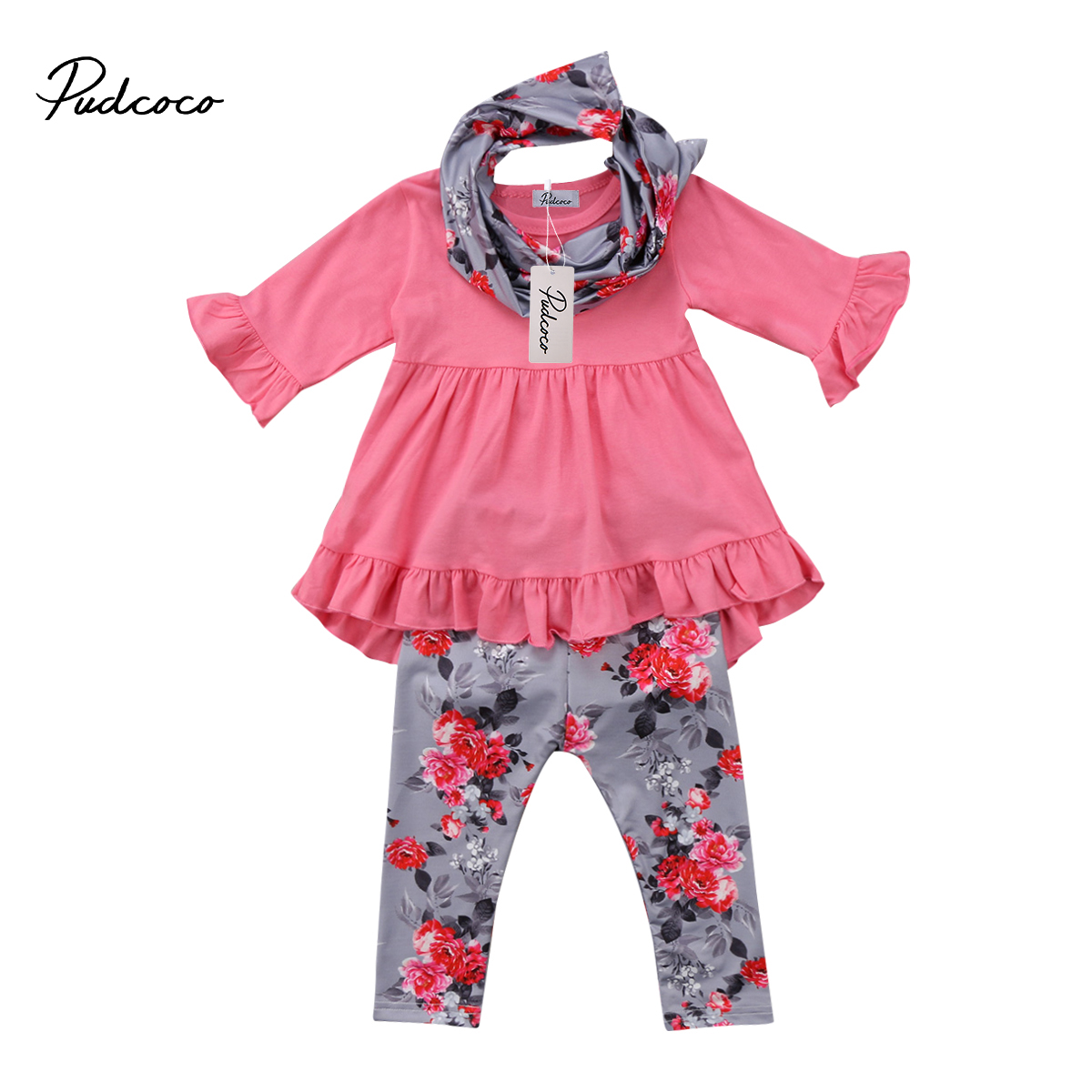 Pretty Toddler Kids Baby Girls Clothes Long Sleeve Ruffle T-shirt Top+Flower Pants Leggings Scarf Outfits 3pcs Winter Clothing