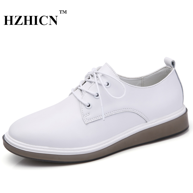 Women Leather Shoes High Quality Fashion Casual Oxfords Soft and Comfortable Flats white/Black Color Lace Up Shoes Zapatos Mujer real pic high color decorative rivets women casual shoes brand designer lace up comfortable women flats shoes woman