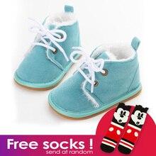 Hiver haute qualité fond mou solide couleur bébé chaussures garçon filles plus velours chaud en bas âge chaussures premiers marcheurs confortables livraison gratuite