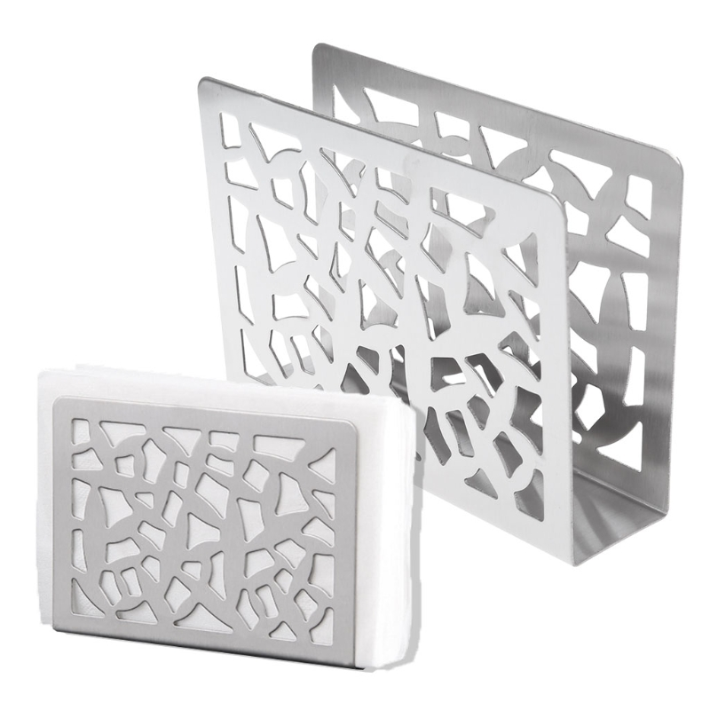 Hollow-Out Stainless Steel Napkin Rack Box Serviette Holder Organizer Tissue Dispenser Storage Case Table Decoration Home Party