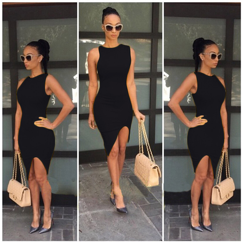 Spring Summer sexy Evening Party Solid Off the Shoulder Sleeveless Dress 3
