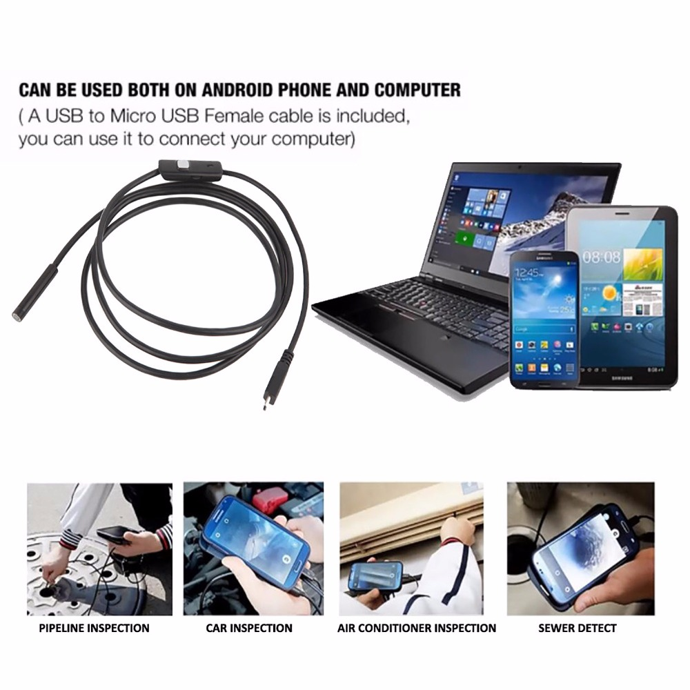 7mm&1M-5M 5mm&1.5M-5M Android Endoscope 5mm  6 LED USB Waterproof Borescope Inspection Camera Snake Tube Pipe Mini Cameras free shipping usb pipe inspection camera borescope endoscope tube snake waterproof with 7mm diameter 6led te e2a