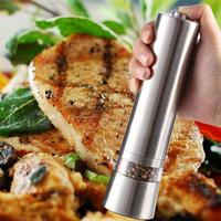Stainless Steel Electric Pepper Mill Spice Grinder Muller Kitchen Cooking Tool Power By 6 X AAA
