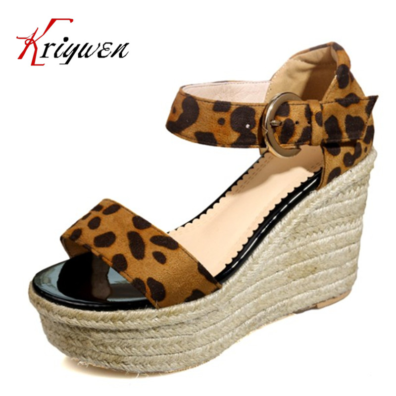Summer Leopard print sandals open toe party women shoes wedges sexy woman platform ladies dress shoes gladiator female sandals weweya casual gladiator female flats sandals 2017 new platform open toes shoes women summer wedges shoes woman sandalias sapatos