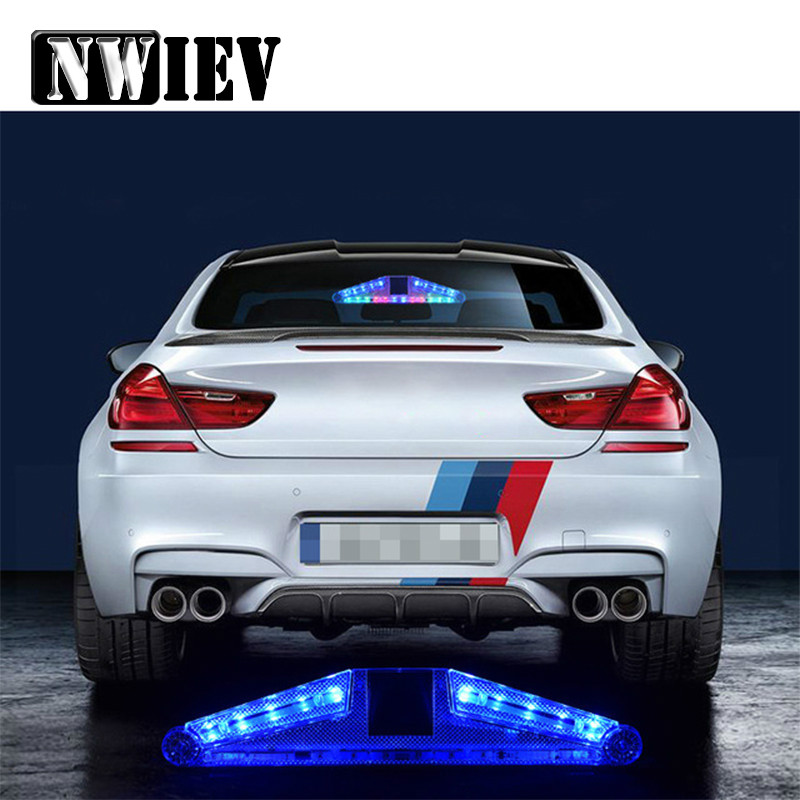 NWIEV Car <font><b>LED</b></font> Strobe Lights Solar warning lamp For Citroen C4 C5 C3 Fiat <font><b>Renault</b></font> Duster Megane 2 Logan <font><b>Captur</b></font> Alfa Romeo 159 156 image