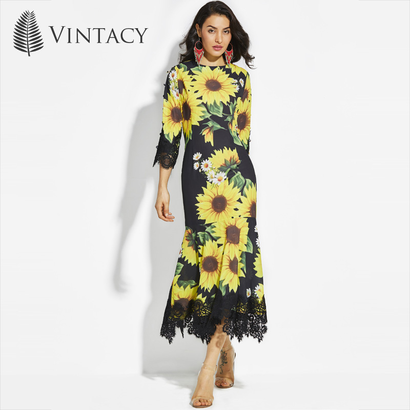 Vintacy Women Black Long Mermaid Maxi Dress Lace Sunflower Summer Dresses party Floral Long Sleeve Maxi Dress Spring Round Neck