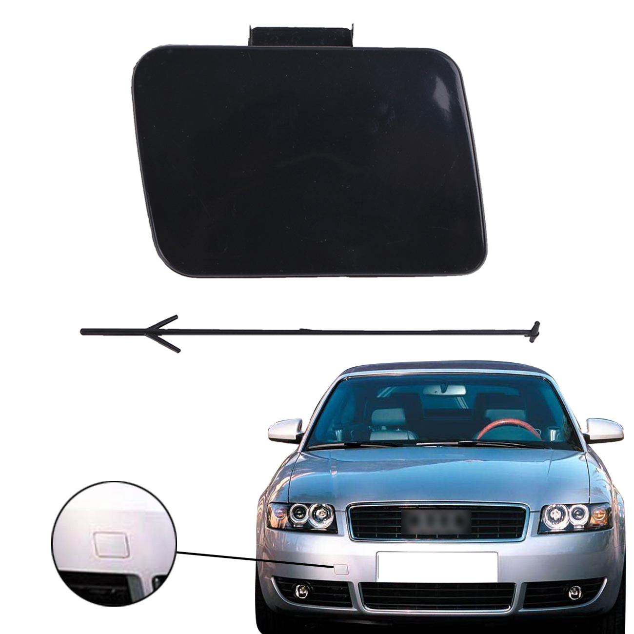 For Audi A4 B6 S4 Quattro Avant S Line Car Front Bumper Towing Hook Eye Cover Cap with Tie 2002 2003 2004 2005 8E0807241 #PD523