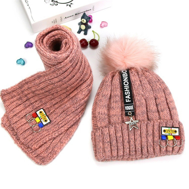 2d428c5d38d Baby girl beanie cap infant for winter thickened cashmere lining Warm  Crochet Knit Fur Pom Bobble caps set with scarf for boy