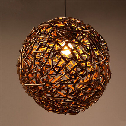 ФОТО 36CM Nordic American Country LED Pendant Lights With Wicker Ball Lampshade For Bar Dinning Home Lighting Suspension Luminaire