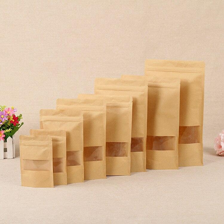 100pcs Kraft Paper Windowing Zifeng Dai Bags Gift Dried Food Fruit Nuts Tea Packaging Pouches Zipper Sealing Bags