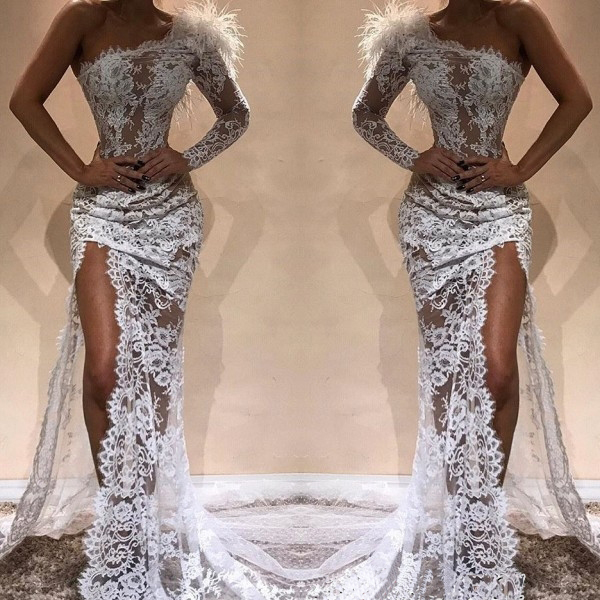 New Fashionable White   Prom     Dress   Long Sexy High Slit One Sleeve Lace Mermaid Evening Party Gowns