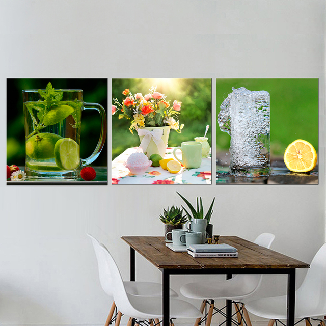 3 Pcs Still Life Lemon Pictures For Kitchen Canvas Prints Wall Decor Modern Canvas  Art Painting